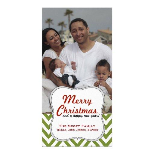 Navidad verde moderno de Chevron de una foto de fa Plantilla Para Tarjeta De Foto