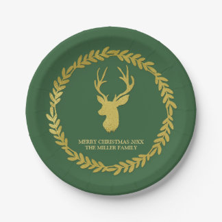Navidad verde oscuro de las astas de los ciervos plato de papel