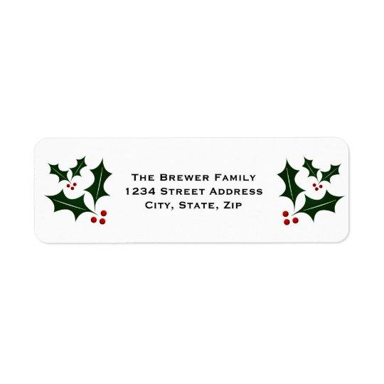 Navidad verde simple del acebo etiquetas de remite