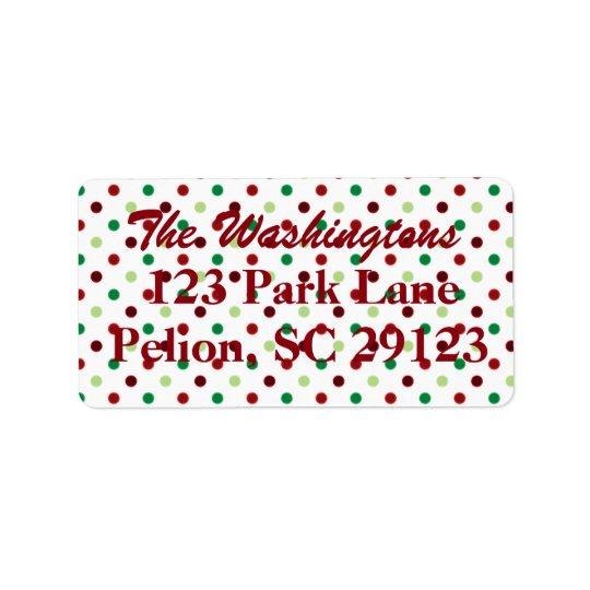 Navidad verde y blanco rojo del lunar etiqueta de dirección