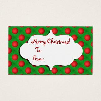 Navidad verde y etiqueta roja del regalo de la