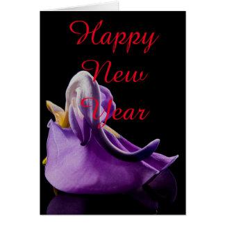 Navidad violeta de la Feliz Año Nuevo de la flor Tarjeta De Felicitación
