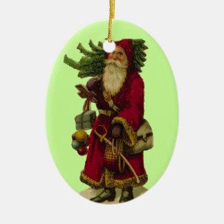 Navidad w/Tree del padre Adorno Navideño Ovalado De Cerámica