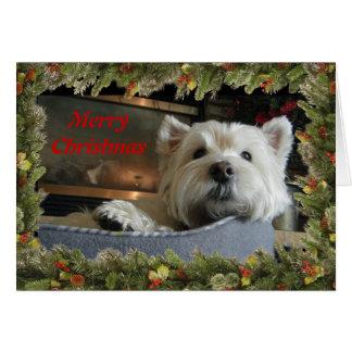 Navidad Westie con la tarjeta de felicitación de