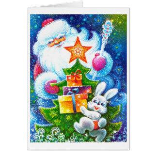 Navidad y conejito del padre tarjeta de felicitación