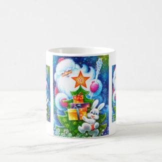 Navidad y conejito del padre taza