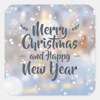 Navidad y sello elegantes del pegatina de la Feliz