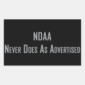 NDAA - Nunca hace según lo hecho publicidad Pegatina Rectangular