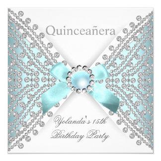 Ne blanco de plata azul del diamante del décimo invitación 13,3 cm x 13,3cm