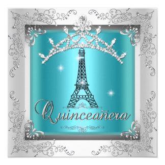 NE de plata azul de la torre Eiffel de la tiara Invitación 13,3 Cm X 13,3cm