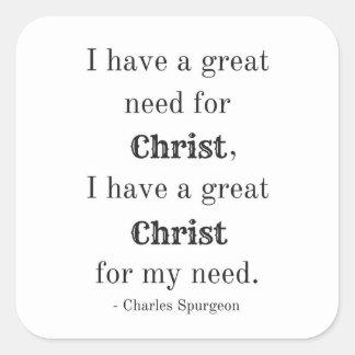 Necesidad del pegatina cuadrado de Cristo