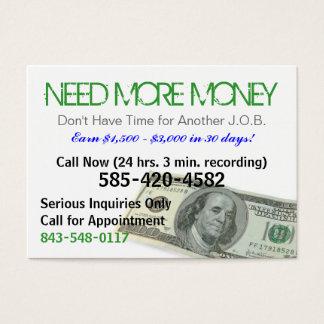 Necesite más tarjeta del chisporroteo del dinero