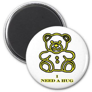 Necesito un amarillo del oso del abrazo los regalo imán redondo 5 cm