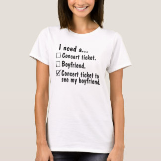 Necesito un boleto del concierto. Novio. Boleto Camiseta