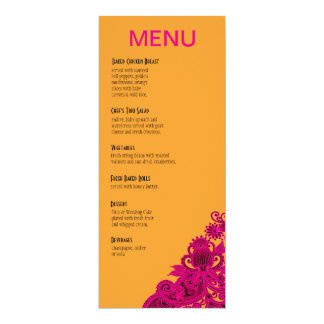 Nectarina azteca del fuschia del menú de la cena invitación 10,1 x 23,5 cm