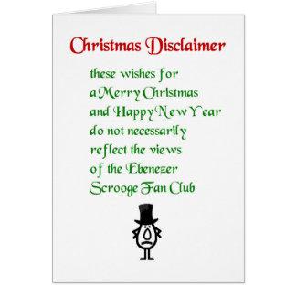 Negación del navidad - un poema divertido del tarjeta de felicitación