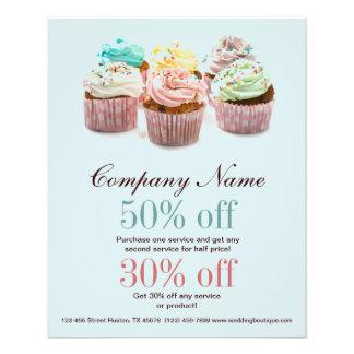 negocio colorido femenino de la panadería de las m folleto 11,4 x 14,2 cm