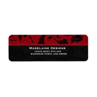 Negocio de encargo rojo y negro del damasco el   etiquetas de remite