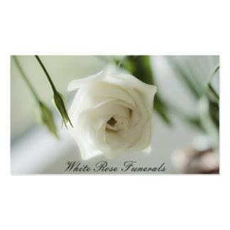 Negocio de funerales del diseño del rosa blanco tarjetas de visita