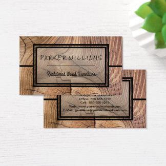 Negocio de madera reclamado rústico de los muebles tarjeta de negocios