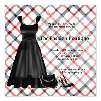 Negocio de moda de la gran inauguración (negro) invitación 13,3 cm x 13,3cm