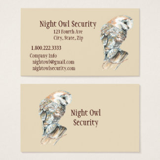 Negocio de seguridad de la lechuza común de la tarjeta de negocios