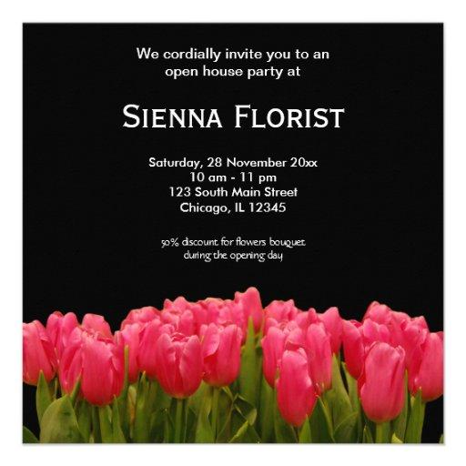 Negocio del florista de la casa abierta invitación personalizada