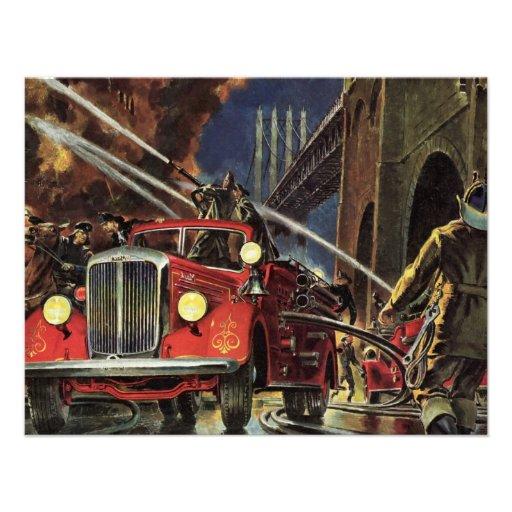 Negocio del vintage, coches de bomberos de los bom invitación personalizada