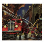 Negocio del vintage, coches de bomberos de los bom posters