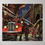 Negocio del vintage, coches de bomberos de los posters