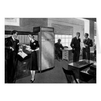 Negocio del vintage, ejecutivos en una oficina tarjeta de felicitación