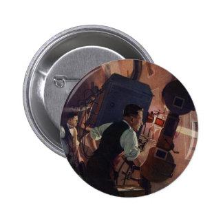 Negocio del vintage, operador de cámara en un cine chapa redonda de 5 cm