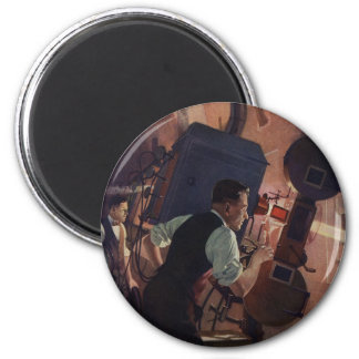 Negocio del vintage, operador de cámara en un cine imán redondo 5 cm