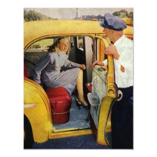 Negocio del vintage, pasajero de la hembra del invitación 10,8 x 13,9 cm