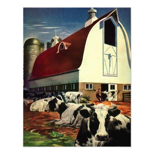 Negocio del vintage, vacas de leche de la granja l comunicados personalizados