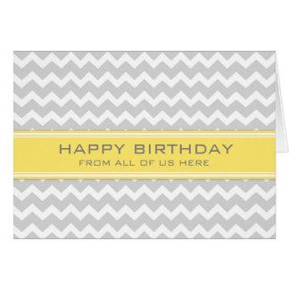 Negocio gris amarillo de Chevron del cumpleaños de Felicitación