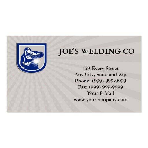 Negocio retro c del escudo del frente del soplete  plantilla de tarjeta de negocio