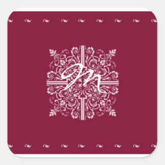 Negocio rojo del monograma del vintage de Borgoña Pegatina Cuadrada