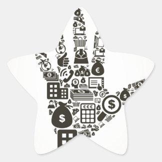 Negocio un hand2 pegatina en forma de estrella