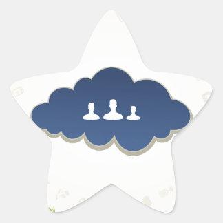 Negocio una nube pegatina en forma de estrella