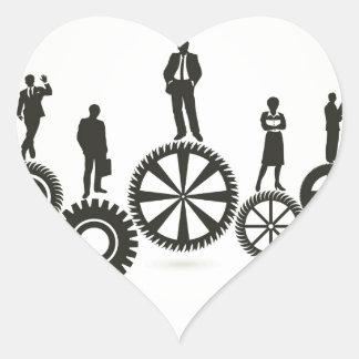 Negocio una rueda de engranaje pegatina en forma de corazón