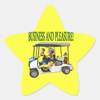 Negocio y placer pegatina en forma de estrella