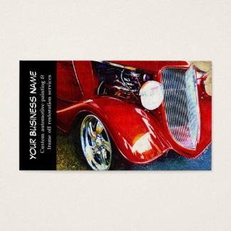 Negocios de pintura autos del coche clásico rojo tarjeta de negocios