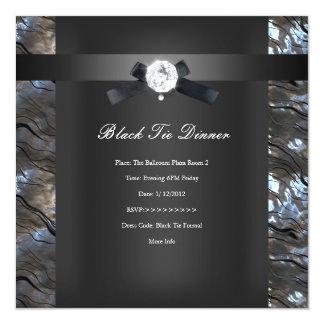 Negro 2 de la plata de la cena de lazo negro invitación 13,3 cm x 13,3cm