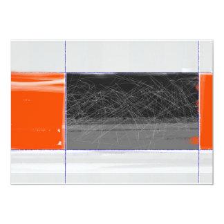 Negro abstracto y naranja invitación 12,7 x 17,8 cm