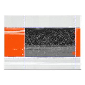 Negro abstracto y naranja invitación 8,9 x 12,7 cm