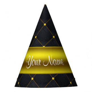 Negro acolchado con clase y oro personalizados gorro de fiesta