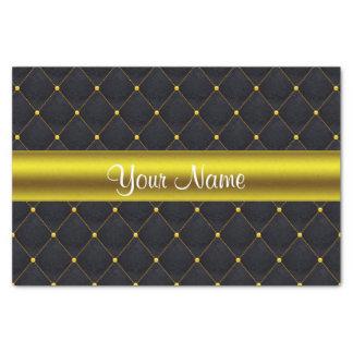 Negro acolchado con clase y oro personalizados papel de seda