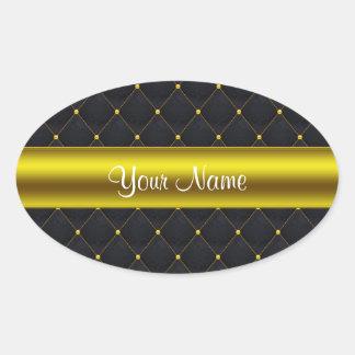 Negro acolchado con clase y oro personalizados pegatina ovalada