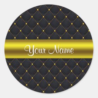 Negro acolchado con clase y oro personalizados pegatina redonda